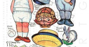 Dolly Dingle's Brother Plays Baseball. Printable Vintage Paper Dolls. Dolly Dingle Paper Dolls Digital Download