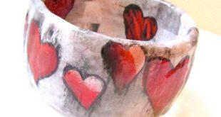Heart Bracelet : Decoupaged paper jewelry, collage bracelet, shabby chic, red hearts, grey