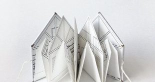 Mini Pop-Up Book approx. 2 x 2 A fun + cozy handmade paper cabin. The front and ...