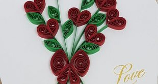 Paper Quilled Love Card - 5x6.5