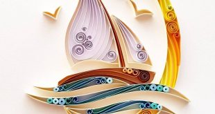 """Quilled Paper Art: """"Sailing Boat"""" - Handmade Artwork - Paper Wall Art - Home Decor - Wall Decor - Home Decoration - Quilled Art - Boat"""