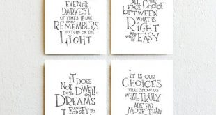 Set of 4 - Inspirational Art Prints, Scandinavian Minimalist Home Decor, Black White Harry Potter Movie Quotes, Bedroom Wall Art Dorm Decor