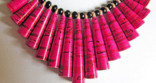 Beetroot pink necklace • Bright pink jewelry • 1st anniversary gift • Fringe necklace • Unique gift for girlfriend • Bold statement necklace