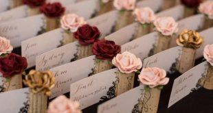 Blush Pink Place Card Holder for Wedding, Bridal Shower, Wine Tasting, Winery We...