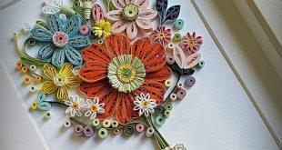 Paper Quilling Art.Paper Flower frame art.Wedding,Nursery Art,bridal shower ,Happy birthday, nursery, anniversary frame art.gift.Home decor