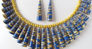 Paper bead necklace & earring set - Bright blue and yellow paper jewelry set by ...