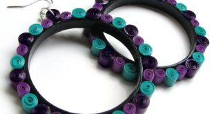 Teal Oversize Hoops, Purple Paper Quilling Earrings, One year anniversary Paper gift for Girlfriend / Bestie / Wife / Friend from Him