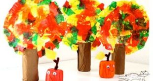 Tissue Paper Apples and Fall Trees. Made with Paper Rolls too! #fall #preschool ...