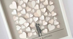 3d Wedding Guestbook, guestbook, wedding, hearts, frames, exceptional, wedding gift, bridal couple, set for self-adhesive, DIY