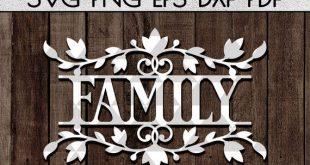 Family wreath papercut cutting file, door hanger sign svg, family paper art, home decor svg, rustic designs, wood sign svg, cricut, dxf, pdf