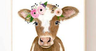 Flower crowned brown calf, baby farm animals, cow painting, babby cow, prints, nursery animals, girl decor, floral nursery, big girl room