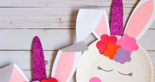Paper plate bunny unicorn craft for kids