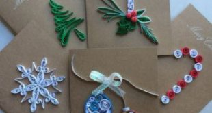 Set of 5 Quilled Christmas Ornament Gift Tags