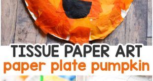 Tissue Paper Mosaic Pumpkin Paper Plate Craft