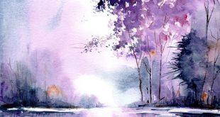 Ursprüngliche Aquarellmalerei, handgemachte Landschaftsmalerei, Aquarelllandsch...