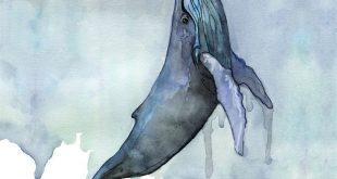 "Walmalerei, Wasserfarbenmalerei, Waldruck, Whale und Boot, Whale Art, Whale Nursery, Humpback Whale, Print betitelt, ""Fathoms Below"""
